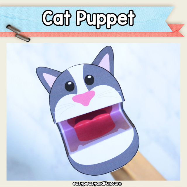 Cat Puppet - super cute craft for kids - print the templates and have fun