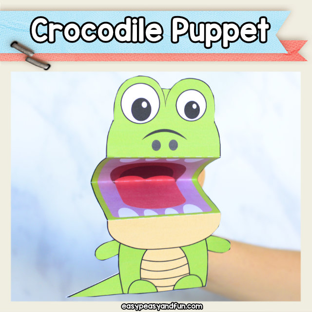 Crocodile Puppet printable template
