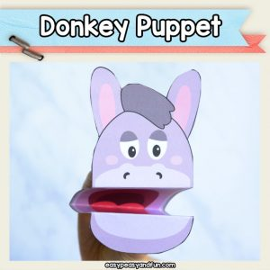 Donkey Puppet- printable craft template