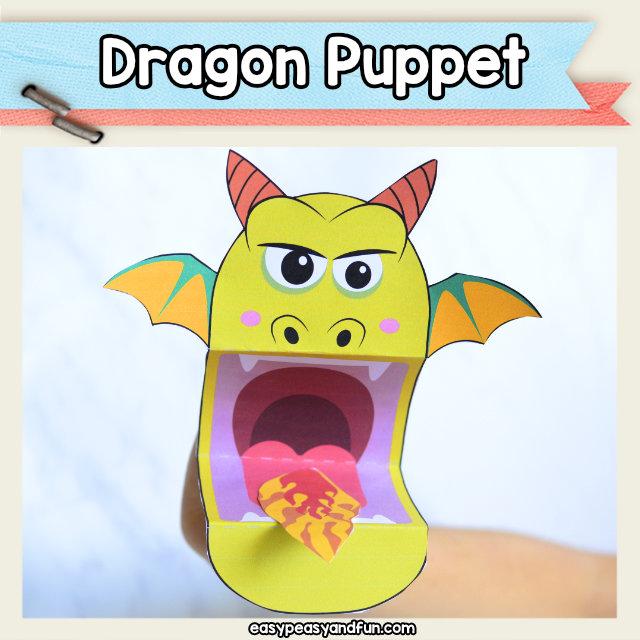 Dragon Puppet Printable Template
