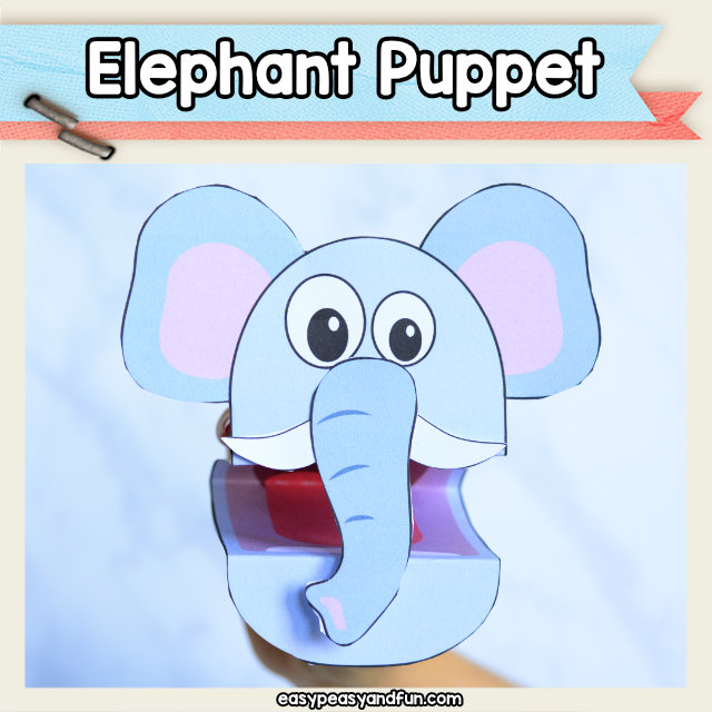 Elephant Puppet - printable craft template