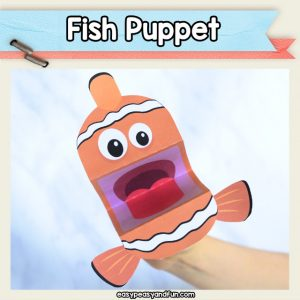 Fish Puppets printable craft template - easy fish crafts for kids