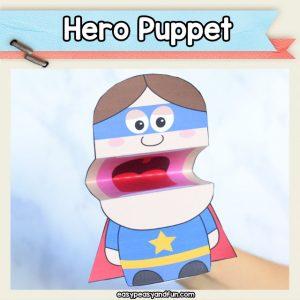 Hero Puppet - superhero crafts for kids