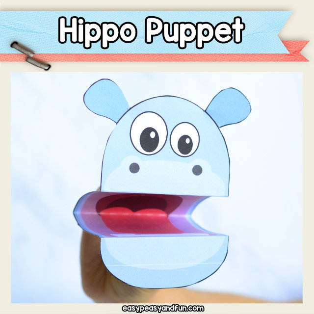 Hippo Puppet printable template