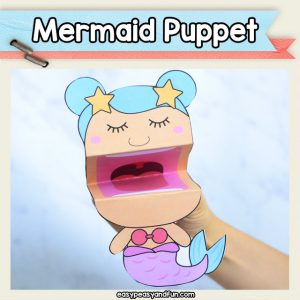 Mermaid Puppet - this printable mermaid puppet template is so fun. Perfect mermaid craft for kids to make in the classroom or at home