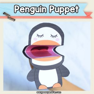 Penguin Puppet - penguin crafts for kids