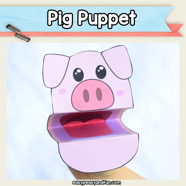 Pig Puppet -printable pig craft template