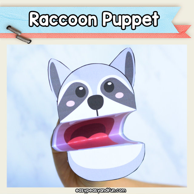 Raccoon Puppet - cute forest animal craft for kids