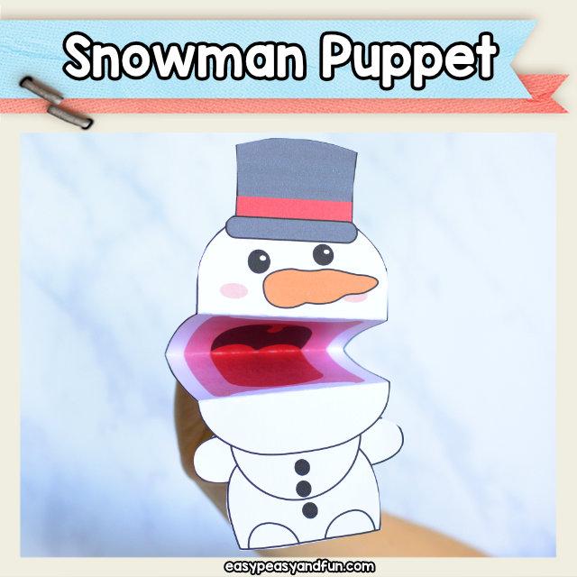 Snowman Puppet - fun snowman paper toy