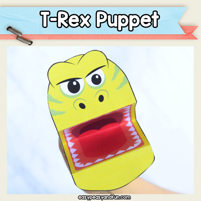 T-Rex puppet - dinosaur craft idea for kids