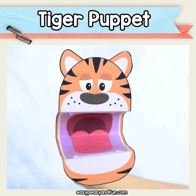 Tiger Puppet printable raft template - tiger crafts for kids