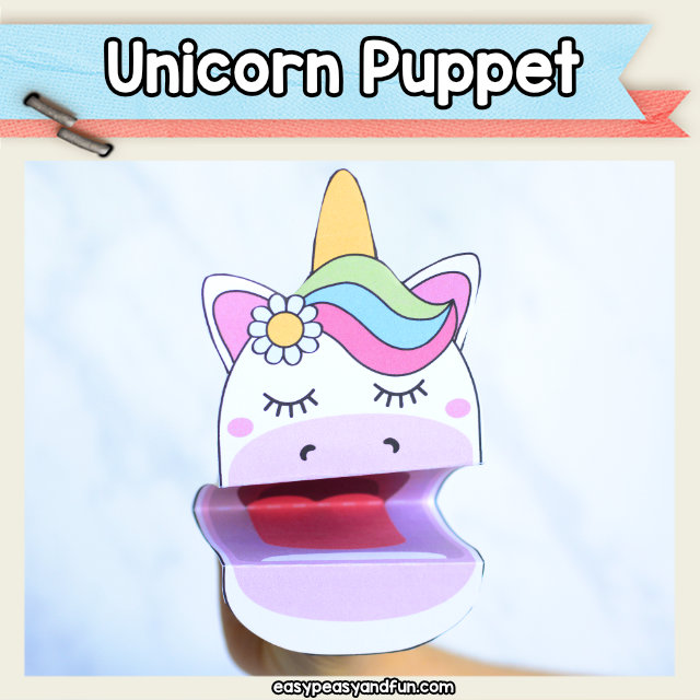 Cute printable unicorn puppet. An adorable unicorn craft for kids and older unicorn lover. Easy unicorn craft idea or a paper toy that is perfect for story time.