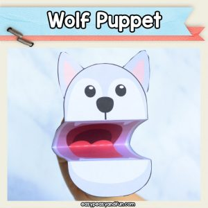 Wolf Puppet Printable Template - a fun wolf craft for kids to make