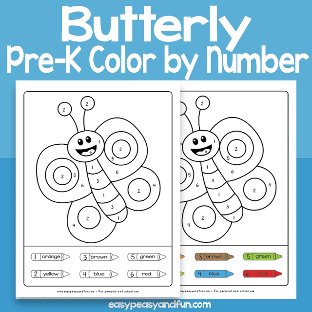 Butterfly Color by Number for Preschool