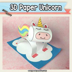 3D Paper Unicorn Craft Template