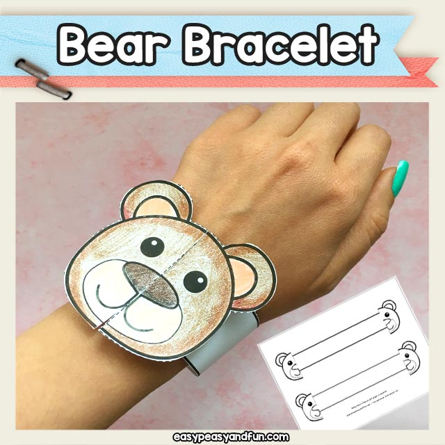 Fun and easy printable bear bracelet - cool bear craft template for kids