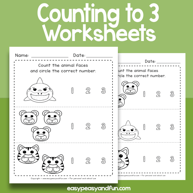 Counting to 3 Worksheets for Preschool and Kindergarten