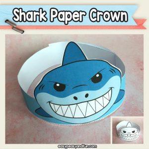 Shark Paper Crown Hat Printable