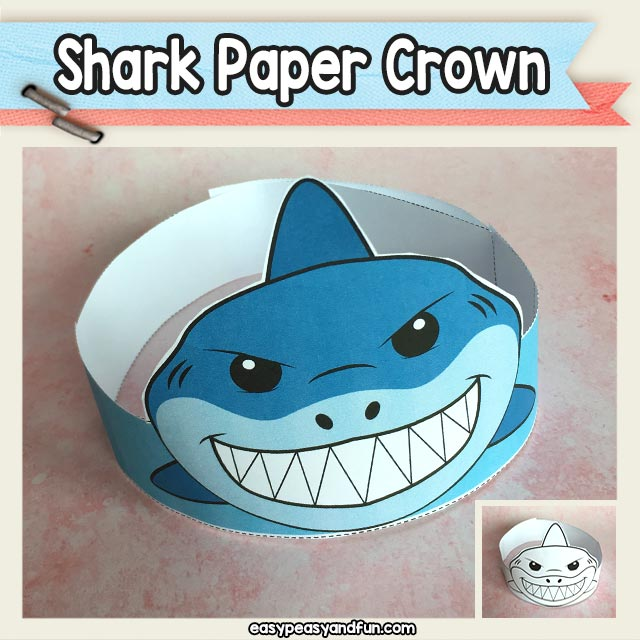 Shark Paper Crown Hat Printable