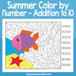 Summer Color by Number Addition