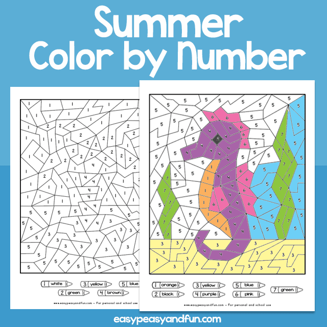 Summer color by numbers (numbers under 10)