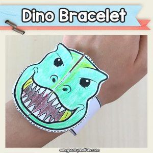 Printable T-rex Paper Bracelets