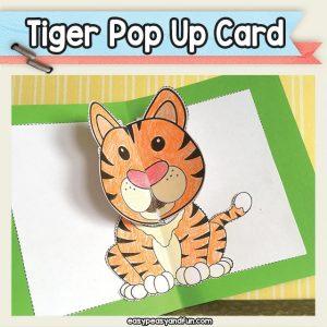 Printable tiger pop up card template