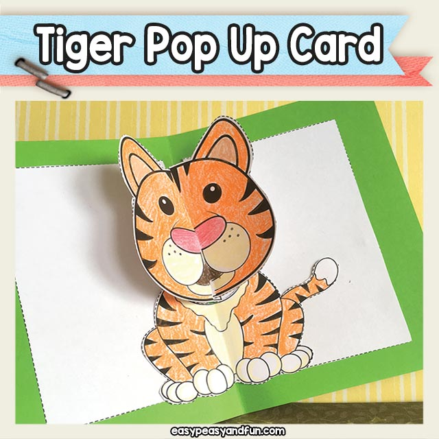 image regarding Printable Tiger Pictures titled Tiger Pop Up Card Printable Template Straightforward Peasy and Pleasurable