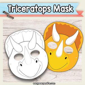 Printable Triceratops Dinosaur Mask Template