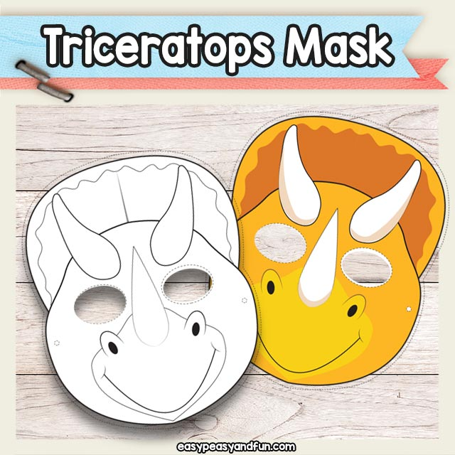 graphic regarding Dinosaur Mask Printable named Printable Triceratops Dinosaur Mask Template Simple Peasy