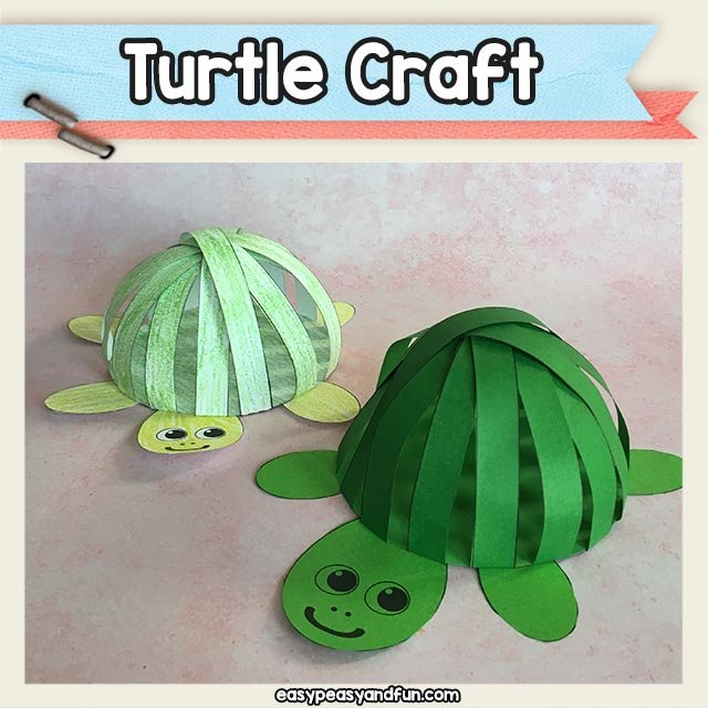 Paper Strips Turtle Craft Printable Template