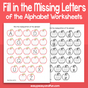 Apples Fill in The Missing Letters of the Alphabet Worksheets