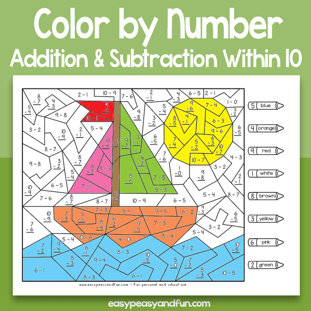 Color by Number Addition and Subtraction Within 10 Worksheets
