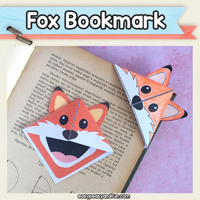Printable Fox Corner Bookmark Origami for Kids