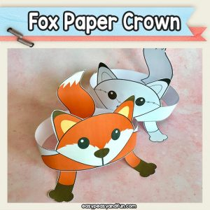 Printable fox paper crown (paper hats) pre colored and black and white templates for kids to get crafty with.