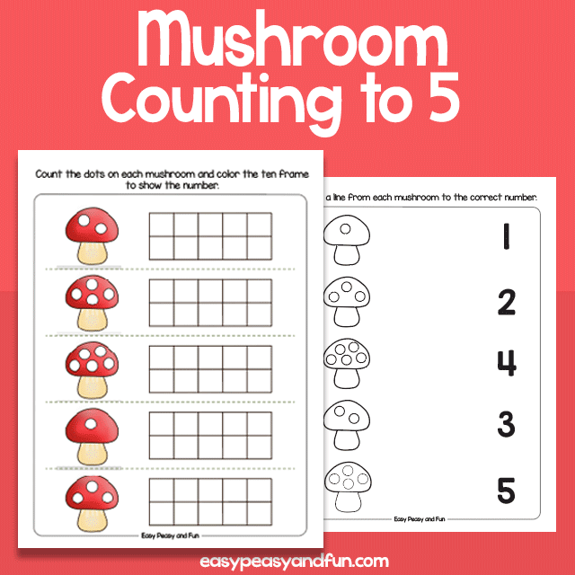 Muschroom Counting to 5 Worksheets for Preschool and Kindergarten