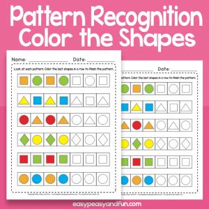 Pattern Recognition Worksheets for Kindergarten