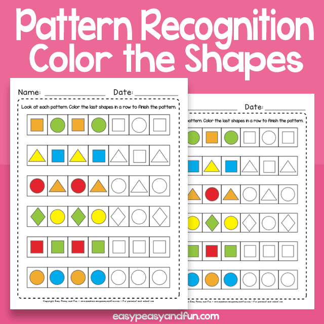 Pattern Recognition Worksheets for Kindergarten