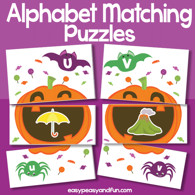 Silly Pumpkins Printable Alphabet Matching Puzzle Game Halloween