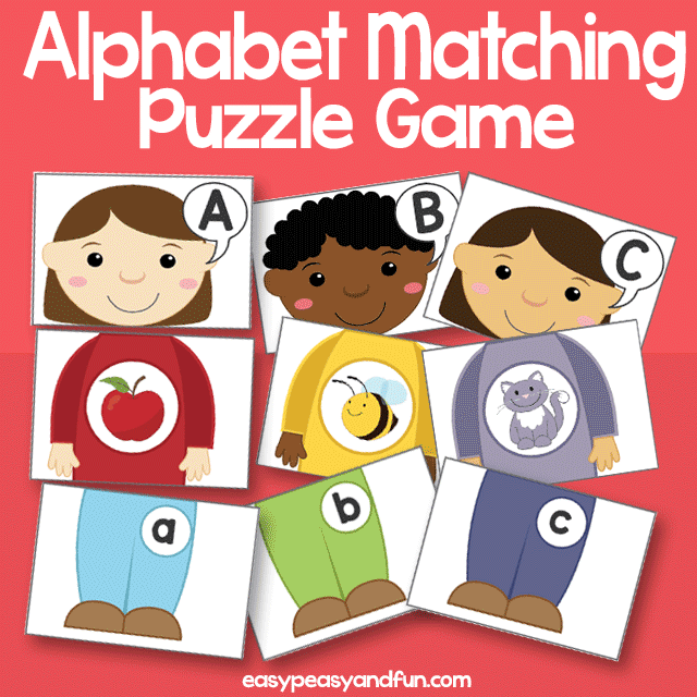 graphic regarding Alphabet Matching Game Printable named Alphabet Matching Puzzle Sport Little ones Straightforward Peasy and Exciting