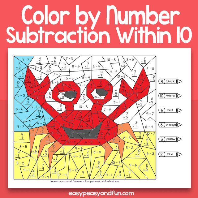Summer Color By Number Subtraction Within 10 Worksheets