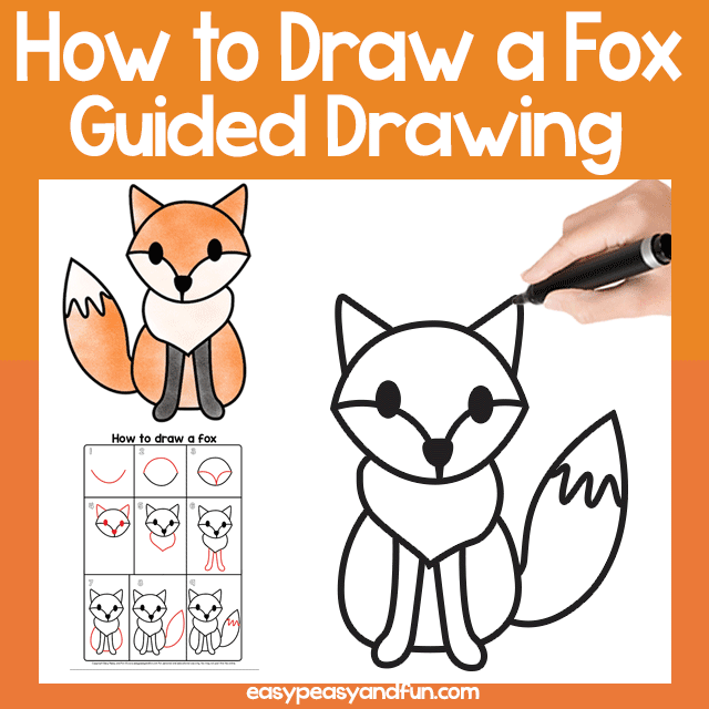 Fox Guided Drawing for Kids