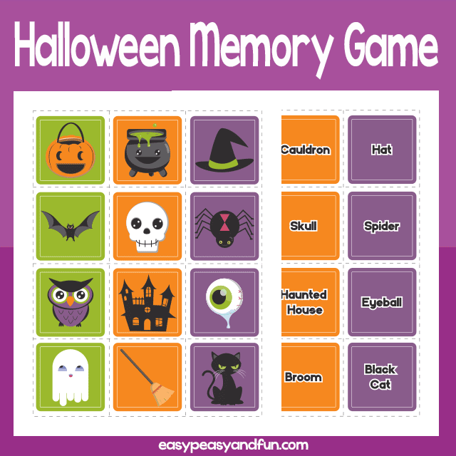 picture relating to Printable Halloween Game named Printable Halloween Memory Sport Uncomplicated Peasy and Enjoyable Subscription