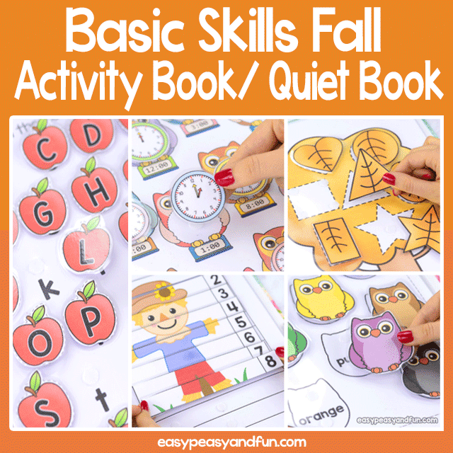 Printable Fall Activity Book - Quiet Book for Preschool and Kindergarten - work on basic skills - alphabet, colors, shapes, numbers, telling time