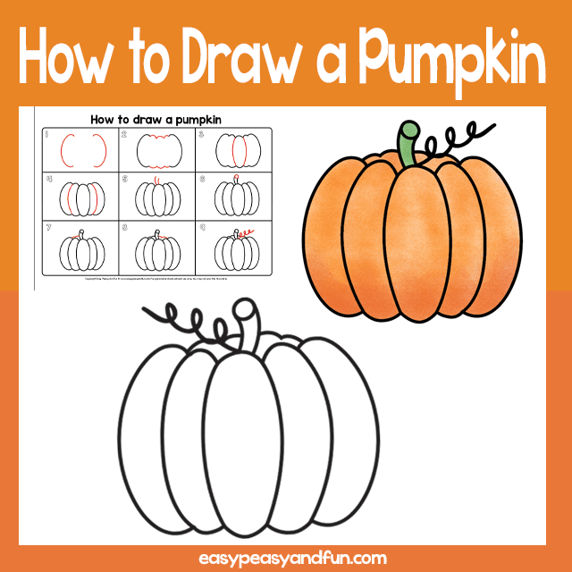 Pumpkin Guided Drawing Lesson step by step pumpkin drawing tutorial