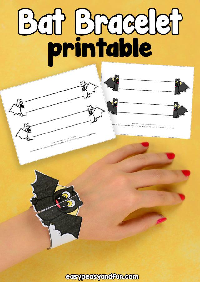 Halloween Printable Bat Paper Bracelet