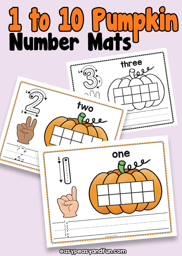 Printable Number Mats perfect for fall and Halloween