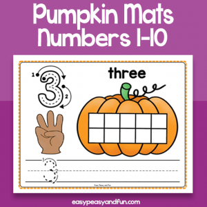 Pumpkin Number Mats - learning the numbers from 1 to 10