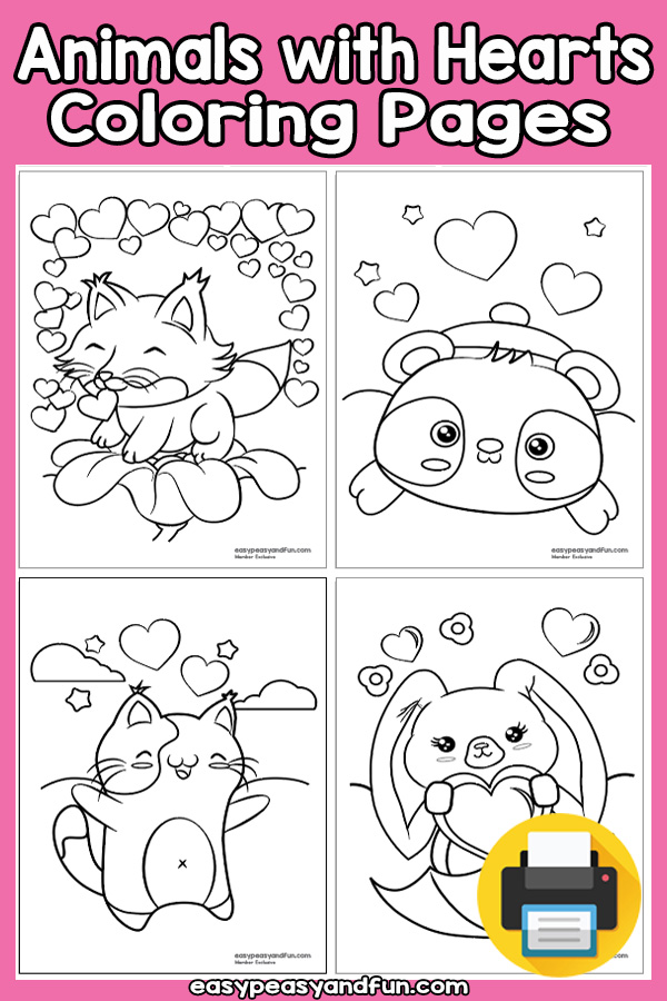 Animals With Hearts Coloring Pages - Valentine's day coloring pages