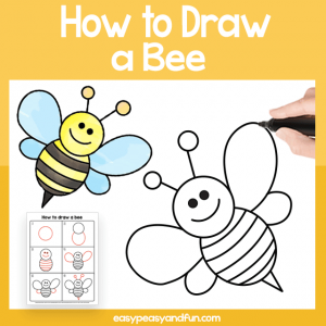 Bee Guided Drawing Printable